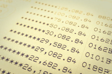 bank statement: Selective focus point on Book bank statement account - Vintage Filter
