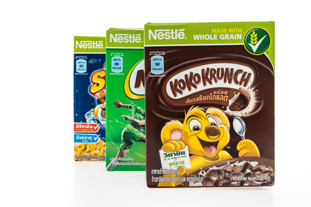 cereal box: BANGKOK, THAILAND - MAY 27, 2016 : Nestle cereal box isolated on white background