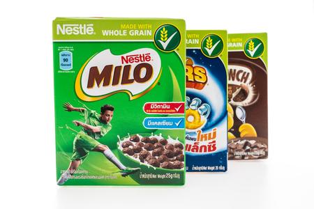 nestle: BANGKOK, THAILAND - MAY 27, 2016 : Nestle cereal box isolated on white background