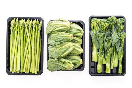 fresh concept: Fresh green Asparagus vegetable , Baby Broccoli vegetable , Brussel sprouts vegetable isolated on white background - Healthy food style concept Stock Photo