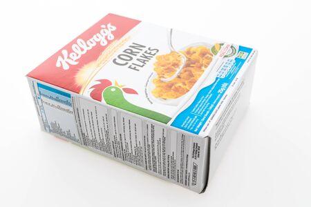 sanitarium: BANGKOK, THAILAND - MAY 27, 2016 :  Cereal box brand kelloggs isolated on white background Editorial