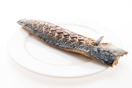 kipper: Grilled saba fish with sweet sauce in white plate isolated on white background