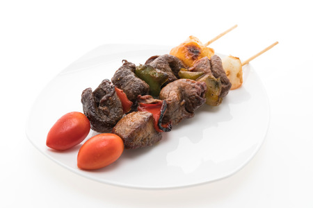 kabab: Grilled beef bbq stick isolated on white background Stock Photo