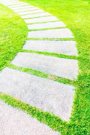 stone path: Stone path way in the garden Stock Photo