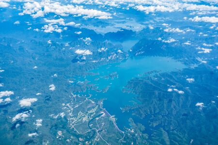 arial views: Arial view of beautiful sea and mountain in Phuket Thailand