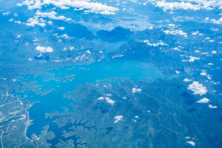 arial: Arial view of beautiful sea and mountain in Phuket Thailand