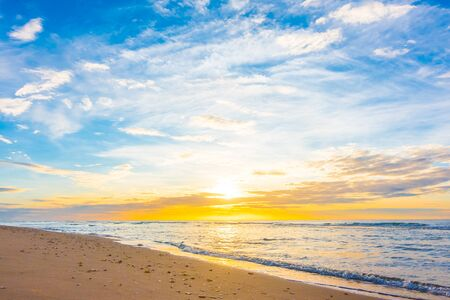 sunrise beach: Beautiful nature with sunset on the beach and sea or ocean - Boost up color and Filter Processing