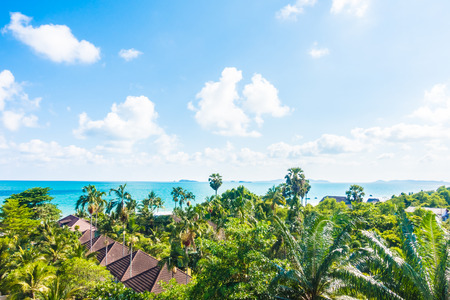 arial: Arial view of sea and beach - Boost up color Processing - Holiday vacation concept for background