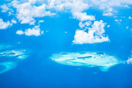 Aerial view of beautiful tropical maldives island and sea - boost up color Processing