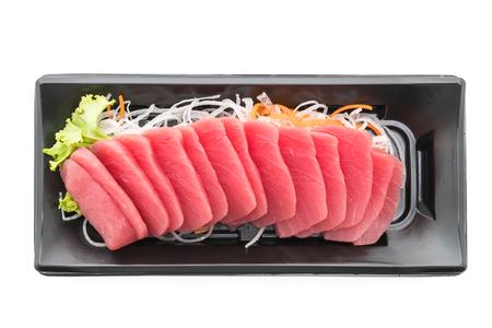 tuna fillet: Raw fresh Tuna sashimi fish in black box isolated on white background - Japanese food style