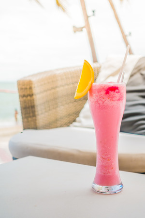 mocktail: Mocktail glass with beach and sea background