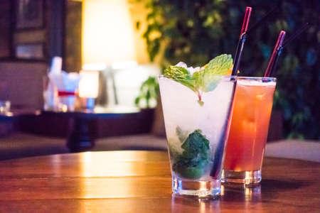 mocktail: Ice mocktails glass in bar and restaurant