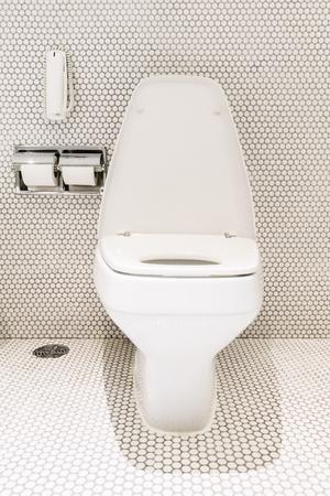 luxury bathroom: Beautiful luxury white Bathroom and toilet interior