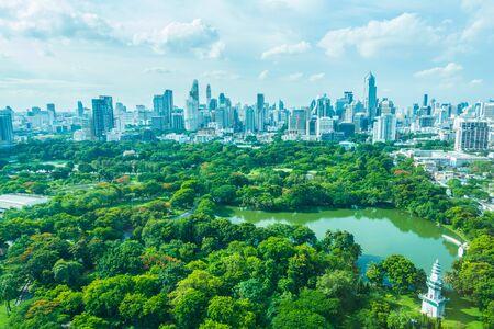 city park skyline: Beautiful Bangkok city skyline around lumphini park in Thailand
