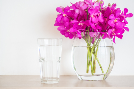 Water Glass With Orchid Flower Vase Stock Photo Picture And Royalty