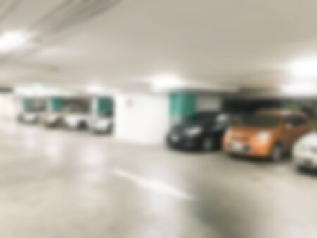 parking lot interior: Abstract blur car parking lot interior for background