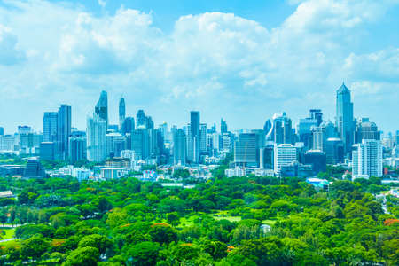 lumpini: Beautiful Bangkok city skyline around lumphini park in Thailand