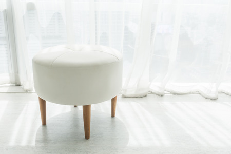 White stool chair decoration in living room interior Stock Photo
