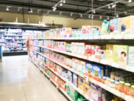 tiendas de comida: Abstract blur supermarket retail and shopping mall interior for background