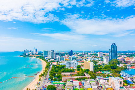Beautiful architecture around Pattaya city skyline with Sea and Ocean bay in Thailand - Boost up color Processing