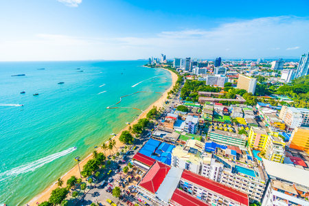 Beautiful architecture around Pattaya city with sea and ocean bay in Thailand Фото со стока