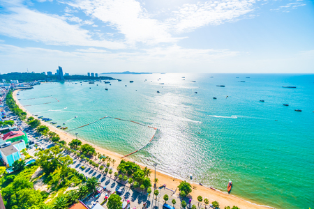 Beautiful architecture around Pattaya city with sea and ocean bay in Thailand Stock Photo