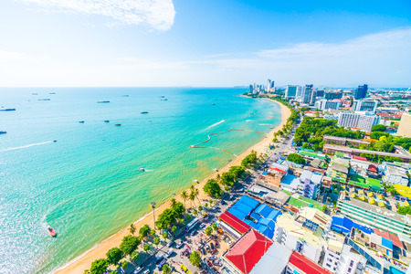Beautiful architecture around Pattaya city with sea and ocean bay in Thailand