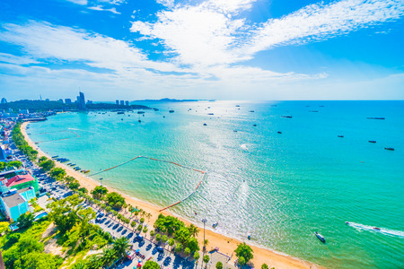 Beautiful architecture around Pattaya city with sea and ocean bay in Thailand 免版税图像