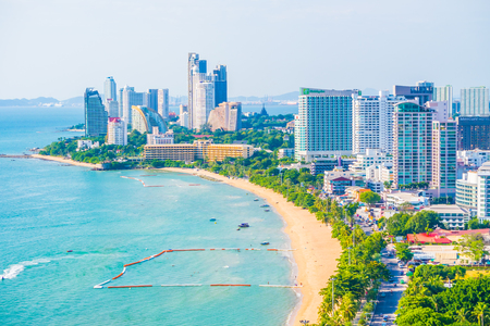 Beautiful architecture around Pattaya city with sea and ocean bay in Thailand 写真素材