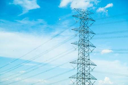 electricity pole: electricity pole on blue sky background Stock Photo