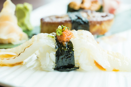 Selective focus point on sushi - Japanese food style