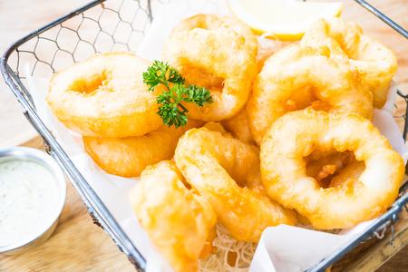 marinara sauce: Crispy calamari rings with sweet sauce - Italian food