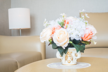 Beautiful Flower Vase On Table Decoration In Living Room Area