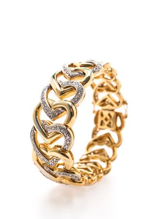 Beautiful luxury Gold bracelet and diamond jewelry isolated on white background 版權商用圖片