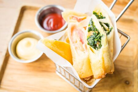 chinese spinach: Fried spring roll with ham cheese and spinach vegetable with tomato and mayo sauce - Processing Warm White balance