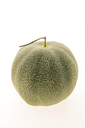 Cantaloupe: Green melon fruit isolated on white background Stock Photo