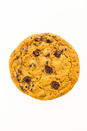 Chocolate chips cookies and bitscuit isolated on white background Stock Photo