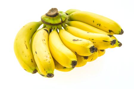 banana skin: Yellow banana and fruit isolated on white background