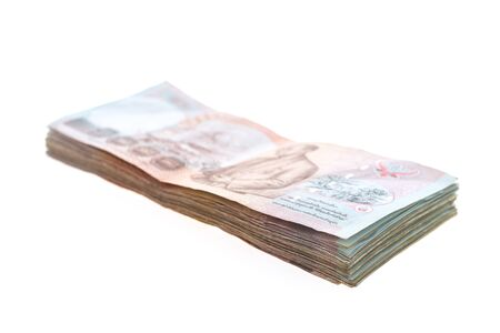 Thai banknote and cash isolated on white background Stock Photo