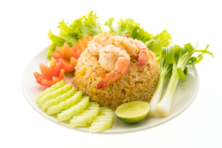 rice plate: Fried rice with shrimp and prawn on top in white plate isolated on white background