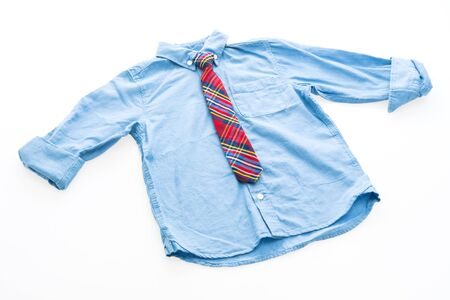 Fashion shirt with neck tie for clothing isolated on white background Stock Photo