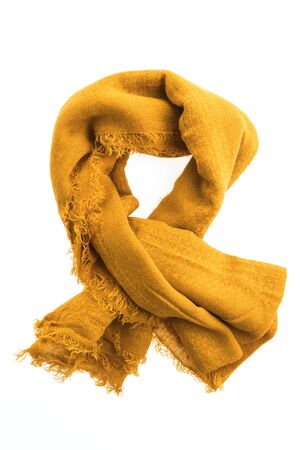 Beautiful yellow scarf for clothing isolated on white background