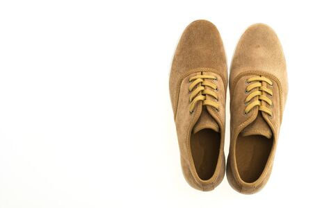 footgear: Beautiful brown leather shoes for men isolated on white background Stock Photo
