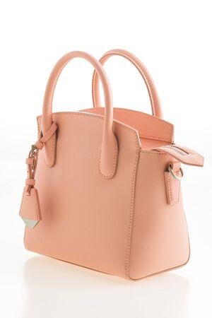 clutch bag: Beautiful elegance and luxury fashion leather pink women handbag isolated on white background Stock Photo