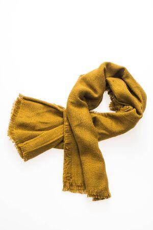 Fashion yellow scarf for winter season isolated on white background Stock Photo