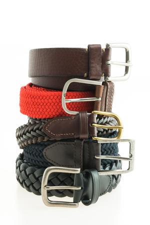 Men fashion with leather belt isolated on white background
