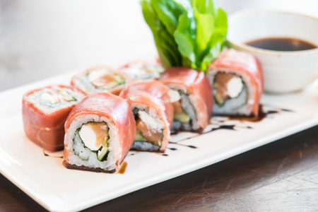 Selective focus point on Sushi in white plate - Japanese food style