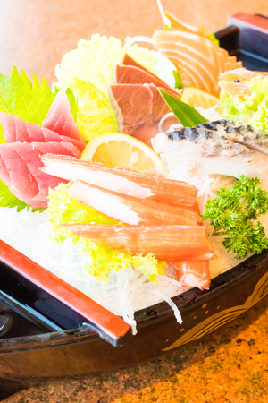 Selective focus point on Sushi - Japanese and Healthy food style - Warm white balance color Processing