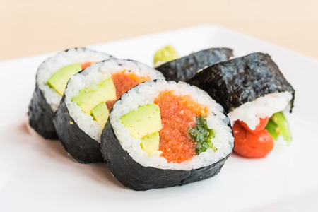 Selective focus point on sushi - Japanese and Healthy food style