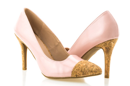 Beautiful elegance and luxury pink high heel isolated on white background Stock Photo